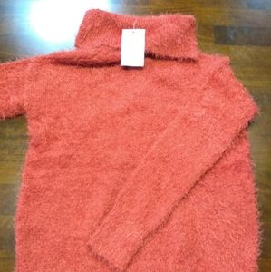 NWT  Pink Rose Plush Soft Cowl Neck Sweater Size S